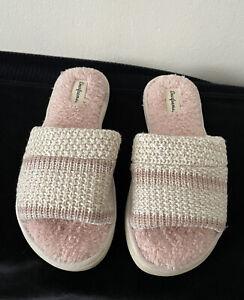 Dearfoams slippers light pink Open Toe Slip On  sz L 9-10