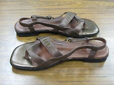 CLARKS Womens Brown & Metallic Bronze Copper Ankle Strap Sandal Size 9.5M EUC