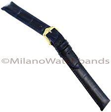 16mm Hirsch Duke Alligator Grain Genuine Leather Navy Blue Watch Band Long