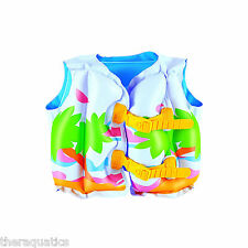 Tropical Learn to Swim Vest Brightly Colored Inflatable Buckle 3-6yrs PFC 32069