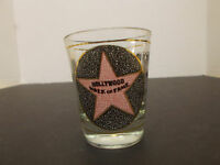 HOLLYWOOD WALK OF FAME SHOT GLASS , PINK AND BLUE GRAPHICS