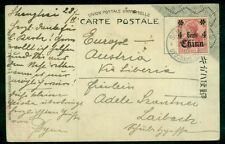 """GERMANY OFFICES IN CHINA #39 4¢ OVPT TIED ON POSTCARD TO """"AUSTRIA VIA LIBERIA"""""""
