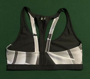 UNDER ARMOUR Black White Silver Sz Large Support Compression Sports Bra!