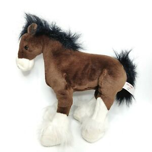 """Gund Clydesdale Horse Pony Plush 14"""" Clyde Realistic Stuffed Animal Free Stand"""