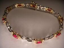 Estate 14K 2-Tone Two-Tone White Gold Ruby Diamond Tennis Bracelet