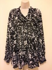 Style & Co Top Ladies Size Large Sheer Black White Floral Long Sleeve Elastic