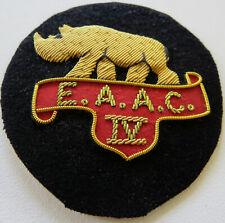 EAST AFRICAN ARMOURED CORPS Badge Replica Handmade Embossed Gold Thread Rhino