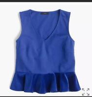 J. Crew Velvet Peplum Top Women's Size Small Blue Sleeveless Ruffle Hem  NWT