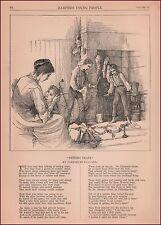 Boys Setting Traps for Santa Claus, antique engraving, print, original 1884