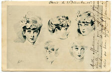 ARTIST SIGNED. PAUL CéSAR HELLEU. PORTRAITS JOLIES FEMMES. GORGEOUS WOMANS.