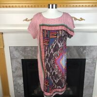 New HEYHOE Anthropologie S Pink Multicolored Abstract 100% Silk Shift  Dress