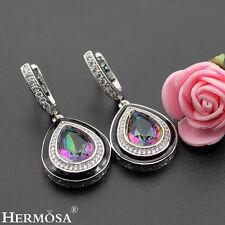 75% OFF Teardrop Mystic Fire Topaz 925K Sterling Silver Turkish Jewelry Earrings