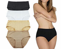 6 Pack Women's Cotton Granny Panties Comfy High Briefs Plain 4 Colors Assorted