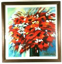"""Michael Milkin Serigraph """"Red Bouquet"""" Flowers 121/480 Signed Floral Poppies"""