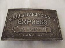 Vintage 1970's Wells Fargo Brass Belt Buckle