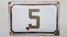 vintage PRE ISRAEL STATE PALESTINE enamel porcelain number 5 house sign # 5