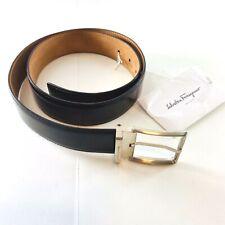 Salvatore Ferragamo Italy Bison Patent Leather Brown Dress Belt Mens 32/34/36