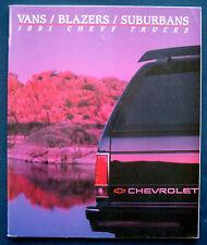 Prospekt brochure 1991 Chevrolet Chevy Vans / Blazers / Suburbans (USA)