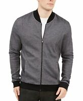 Alfani Mens Jacket Deep Black Size 2XL Full Zip Pique Knit Bomber $75 076