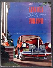 "ORIGINAL 1941 LINCOLN ZEPHYR V-12 DEALER BROCHURE ~ 8 PAGES ~ 8.5"" X 11"" ~ LZ41"