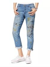 Rachel Roy Womens Button-Fly Paint Ripped Girlfriend Denim Jeans 28 Blue $99
