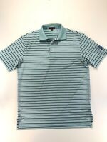 Peter Millar Summer Comfort Golf Shirt Polo Medium Teal Blue White Stripe