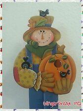 Hand Painted Wooden Standing Scarecrow, Porch Greeter, Pumpkin, Fall, Autumn