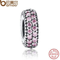 Shining Authentic S925 Sterling Silver Charms With Pink Cz For P Bracelets Chain
