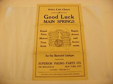 Original Good Luck Main Springs Phonograph Accessories Chart