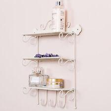 Cream Metal Shelving Unit Storage Bathroom Accessory Shelf Ornate Shabby Chic
