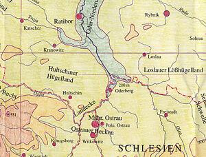 Karte Österreichisch-Schlesien und der Raum um die Mähische Pforte Stand 1914