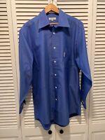 Faconnable Mens  Blue Dress Shirt  Size:16R 100% Cotton