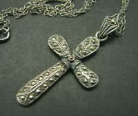 STERLING SILVER Cross Pendant VTG MARCASITE Victorian Necklace DARK PATINA AGED