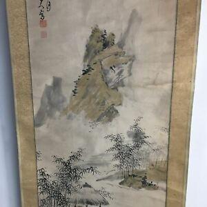 Japanese Hanging Scroll Vtg Kakejiku Kakemono Painting Mountain Hut SC654