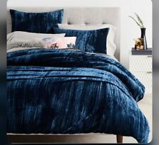 WEST ELM crushed  velvet QUEEN + 2 pillowcases ROYAL BLUE