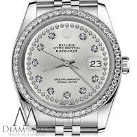 Rolex 26mm Datejust Silver String Diamond Stainless Steel Jubilee Ladies Watch