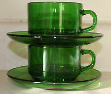 Vintage Emerald Green Vereco France Cups and Saucers Set of 2
