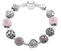 Bracciali con Charms Simili Pandora Ciondoli Vetro Murano Silver 925 Zirconi
