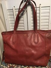 FOSSIL Brick Red Leather Tote Shopper Shoulder Handbag w/ID Wallet