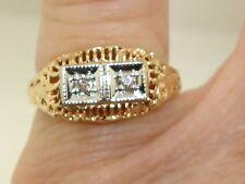 BEAUTIFUL ART NOUVEAU STYLE 10K ROSE GOLD FILIGREE & DIAMOND RING!