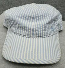 Vintage Penguin Hat Leather Strap Back Blue Striped Lightweight Adjustable Cap