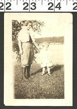 VINTAGE OLD B&W PHOTO OF MOM IN NEAT CLOTHES WITH DAUGHTER BY LAKE #2847