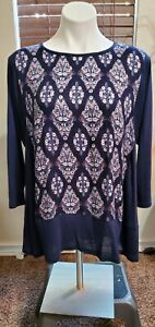 Lucky Brand 3/4 Sleeve Women's Peasant Boho Chic Top Blue Fall Size 1X