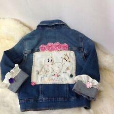 Denim Jacket Girls S 6-7 Vintage Upcycle Embroidered Embellished Linen Boho Blue
