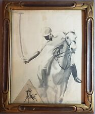 ANTIQUE EQUESTRIAN HORSE FINE ART UK SIR ALFRED MUNNINGS POLO WATERCOLOR SKETCH