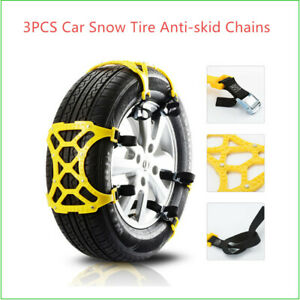 3*Car Tire Anti-skid Chains Thickened Beef Tendon Wheel Chain for Snow Road Kit