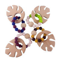 Infant Baby Teething Bracelets Beech Wooden Silicone Beads Teether Rattles Toys