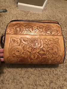 Brown Leather Hand Tooled Tote Bag Vintage Medium Sized Floral Roses Zip Mexico