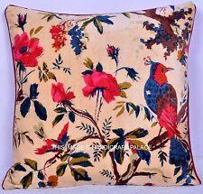 "16"" Beige Velvet Cushion Pillow Cover Sofa Throw Indian Bird Ethnic Decorative"