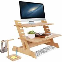 Wood Monitor Stand TV PC Laptop Bamboo Computer Desk Standing Shelf 6-Levers